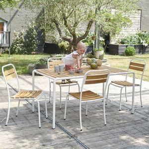 BOIS DESSUS BOIS DESSOUS - salon de jardin en bois d'acacia fsc et métal 4 p - Comedor De Exterior