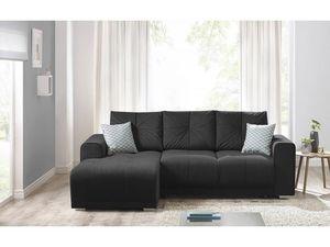 BOBOCHIC - canapé d'angle convertible lisbona noir angle gauche - Sofá De Esquina