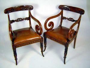 Brookes-Smith - paire de fauteuil à crosse regency - Sillón Jacobino