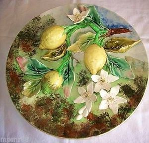 Art & Antiques - grand plat aux citrons signé longchamp - Plato Decorativo