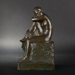 Expertissim - f. david. femme sur un rocher en bronze - Escultura