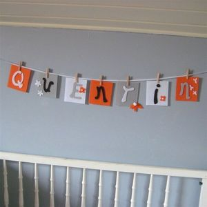LITTLE BOHEME - guirlande prénom mandarine et gris - Guirnalda Para Niños
