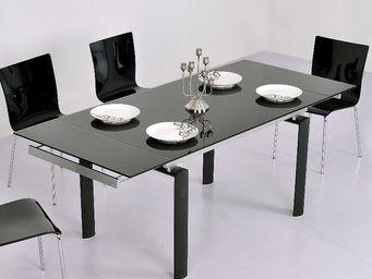 CLEAR SEAT - table en verre noire à rallonge extensible bornéo - Mesa Extensible