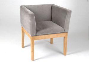 Kervroedan Jean Claude - fauteuil brio en velours gris et bois 62x56,5x69cm - Sillón Bridge