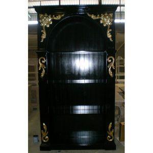 DECO PRIVE - bibliotheque baroque en bois noir et dorures - Biblioteca