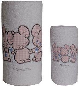 SIRETEX - SENSEI - carré de bain 100x100cm éponge brodée 3 souris ros - Toalla De Baño Para Niño