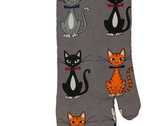 SIRETEX - SENSEI - gant à four imprimés chat chic gris - Manopla