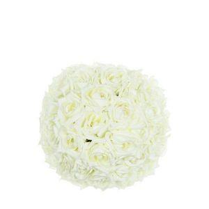 DECO PRIVE - boule de roses blanches artificielles diam 20 cm - Flor Artificial