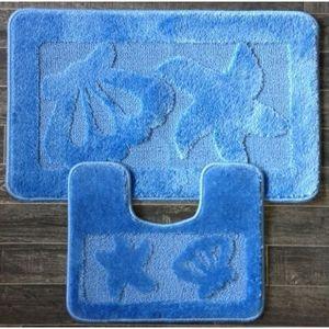ILIAS - tapis salle de bain et toilette coquillage bleu - Alfombra De Baño