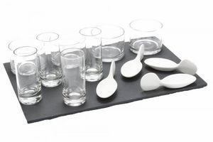 WHITE LABEL - plateau apéritif en ardoise avec 12 verrines - Vasito Para Tapas