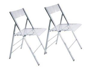 WHITE LABEL - lot de 2 chaises pliantes seal transparentes et ch - Silla Plegable