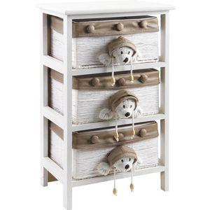 Aubry-Gaspard - commode enfant en bois blanc 3 tiroirs - Mueble Bajo Para Niño