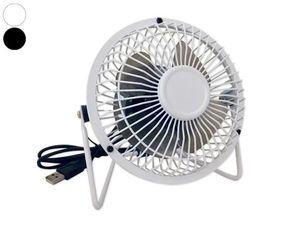 WHITE LABEL - ventilateur blanc inclinable pour port usb noir ac - Ventilador