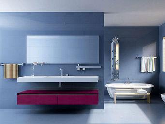 UsiRama.com - meuble salle de bain design simple spension 120cm - Mueble Bajobañera