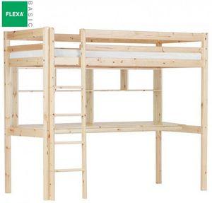 Flexa - lit mezzanine flexa avec bureau et étagères en pin - Cama Alta