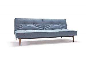 INNOVATION - canape splitback bleu, pieds bois clair, convertib - Sofá Cama Clic Clac