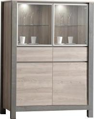 COMFORIUM - vitrine à 2 portes moderne coloris chêne gladstone - Vasar