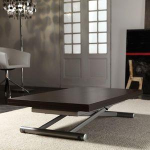WHITE LABEL - table basse relevable extensible lift wood wengé - Mesa De Centro De Altura Regulable