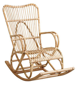 Aubry-Gaspard - fauteuil à bascule en manau naturel - Mecedora