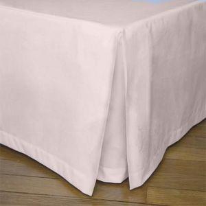 Liou - cache-sommier plis creux rose poudré - Cubre Somier
