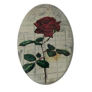 CHEMIN DE CAMPAGNE - presse papier sulfure ovale bombé motif rose rouge - Prensapapeles