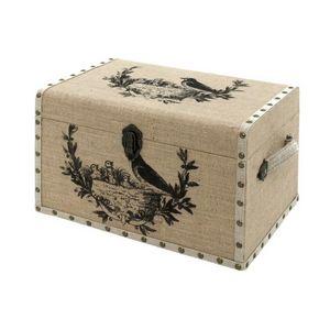 CHEMIN DE CAMPAGNE - coffre malle de rangement bois toile de jute oisea - Baúl