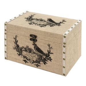 CHEMIN DE CAMPAGNE - coffre malle de rangement bois toile de jute 34x22 - Baúl