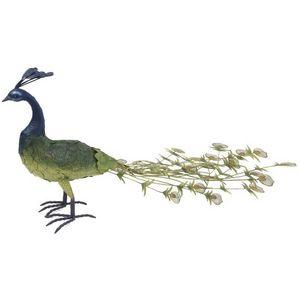 CHEMIN DE CAMPAGNE - statue sculpture paon femelle en fer oiseau oiseau - Ornamento De Jardín