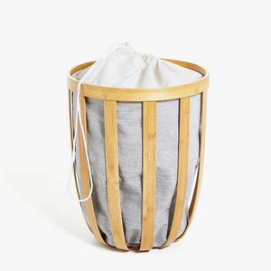 Zara Home - panier à linge bambou tissu intérieur - Cesto Para La Ropa
