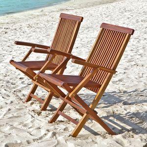 BOIS DESSUS BOIS DESSOUS - lot de 2 fauteuils de jardin en bois de teck huilé - Sillón De Jardín