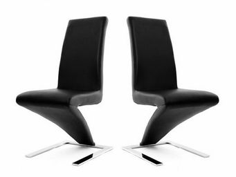 Miliboo - lot de 2 chaises design noires new angie - Silla