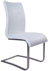COMFORIUM - chaise en simili cuir blanc avec pied en acier chr - Silla