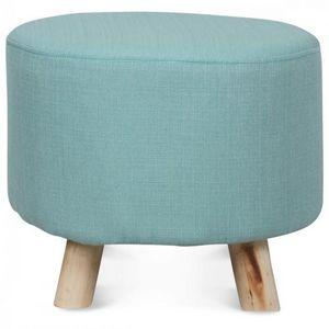 Demeure et Jardin - tabouret rond style scandinave en bois bleu ciel - Puf