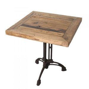 Mathi Design - table carrée bois brasserie - Mesa De Bar