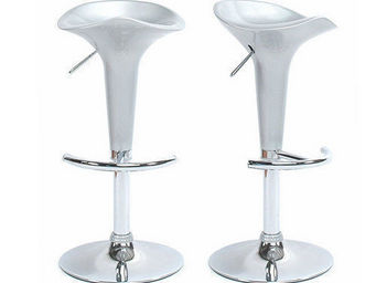 Miliboo - le lot de 2 tabourets galaxy argent - Taburete De Bar Regulable