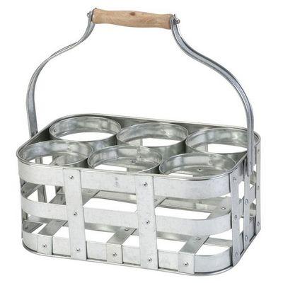La Chaise Longue - Botellero-La Chaise Longue-Porte bouteilles en métal galvanisé avec anse