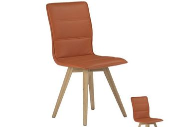 WHITE LABEL - duo de chaises simili cuir orange - kano - l 43 x - Sedia