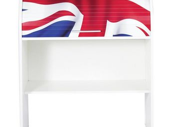 WHITE LABEL - bureau cylindre à rideau blanc - curtys n°5 - l 85 - Scrittoio