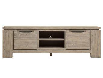 WHITE LABEL - meuble tv 2 portes 1 niche - trias - l 170 x l 45 - Mobile Tv & Hifi