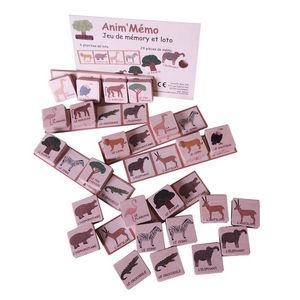 ANIM'EN BOIS - jeu de mémory et loto anim'mémo savane (3-6 ans) - Giocattolo Antico
