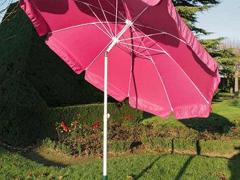 PROLOISIRS - parasol rond 2,70m fuchsia avec baleines fibre de  - Ombrellone