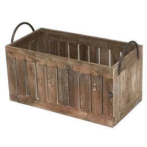 CHEMIN DE CAMPAGNE - grand casier panier caisse en bois 60x31x36 cm -