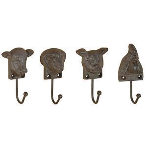 Esschert Design - patère animaux de la ferme en fonte (lot de 4) - Appendiabiti Da Parete