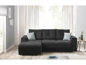 BOBOCHIC - canapé d'angle convertible lisbona noir angle gauche - Divano Angolare