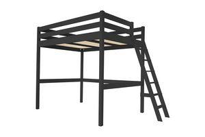 ABC MEUBLES - abc meubles - lit mezzanine sylvia avec échelle bois noir 90x200 - Letto A Soppalco
