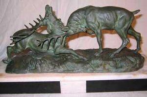 AUX MAINS DE BRONZE - combat de cerfs - Scultura Animali