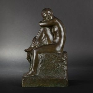 Expertissim - f. david. femme sur un rocher en bronze - Scultura