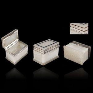 Expertissim - petit coffret à tabac rectangulaire en agate ruban - Cofanetto Portagioie