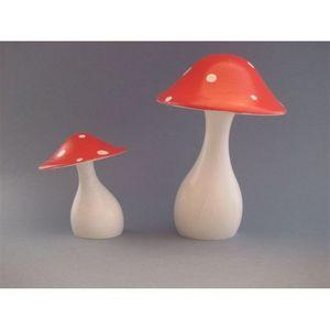 LITTLE BOHEME - champignon en bois tourné peint promenons-nous dan - Giocattolo In Legno