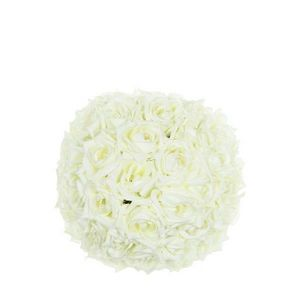 DECO PRIVE - boule de roses blanches artificielles diam 20 cm - Fiore Artificiale